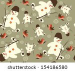 christmas vector seamless with... | Shutterstock .eps vector #154186580