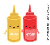 cute mustard and ketchup... | Shutterstock .eps vector #154189130