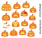 halloween pumpkin icon set | Shutterstock .eps vector #154190468