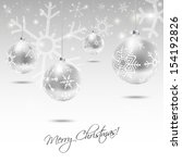 christmas card with silver... | Shutterstock .eps vector #154192826