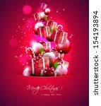 luxury red christmas background ... | Shutterstock .eps vector #154193894
