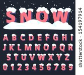 retro type font with snow ... | Shutterstock .eps vector #154197914