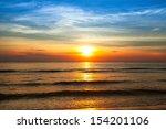 Beautiful Sunset On Coast Of...