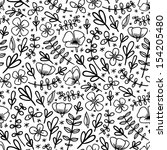 black and white seamless floral ... | Shutterstock .eps vector #154205480
