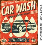 retro car wash sign. vector... | Shutterstock .eps vector #154212416