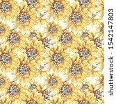 dahlia flowers seamless pattern....   Shutterstock . vector #1542147803