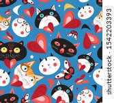 seamless festive pattern with... | Shutterstock .eps vector #1542203393