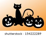 halloween black cat and pumpkins | Shutterstock .eps vector #154222289