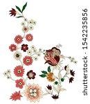 botanical blossom flowers leafs ... | Shutterstock . vector #1542235856
