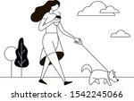 Stock vector the girl walking with the pet dog one color graphic vector illustration 1542245066