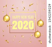 2020  happy new year lettering  ...   Shutterstock .eps vector #1542259229
