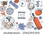 mulled wine cooking  winter hot ... | Shutterstock .eps vector #1542292193