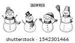 snowmen engraved style... | Shutterstock .eps vector #1542301466