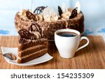 Coffee  A Slice Of Cake On The...