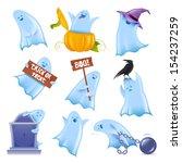 set of 9 happy halloween ghosts ...   Shutterstock .eps vector #154237259