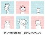 set of cute adorable animals... | Shutterstock .eps vector #1542409109