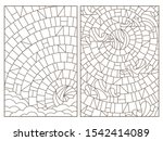 set of contour illustrations in ... | Shutterstock .eps vector #1542414089