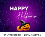 happy halloween wallpaper with... | Shutterstock . vector #1542428963
