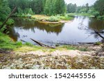 Curved Dark River With High...