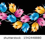 seamless colorful fancy floral... | Shutterstock .eps vector #1542448880