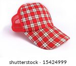red summer plaid cap on white... | Shutterstock . vector #15424999