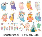 wild tribal owl. cartoon owls... | Shutterstock .eps vector #1542507836