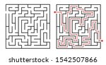 labyrinth game way. square maze ... | Shutterstock .eps vector #1542507866