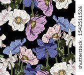 anemone. seamless pattern of... | Shutterstock .eps vector #1542511526