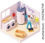 vector isometric technician or...   Shutterstock .eps vector #1542582749