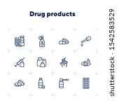 drug products line icons. set... | Shutterstock .eps vector #1542583529