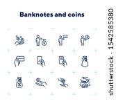 banknotes and coins line icon...   Shutterstock .eps vector #1542585380