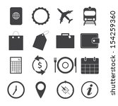 black and white travel icons...   Shutterstock .eps vector #154259360