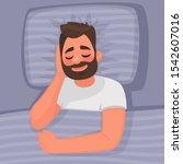 sleep. a man is sleeping in bed.... | Shutterstock .eps vector #1542607016