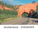 Road Through A Tunnel In The...