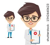 doctor man with document...   Shutterstock .eps vector #1542660623