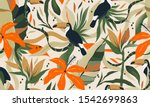 modern exotic jungle plants... | Shutterstock .eps vector #1542699863