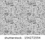 seamless doodle coffee pattern... | Shutterstock .eps vector #154272554