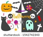 happy halloween vector cartoon... | Shutterstock .eps vector #1542742343
