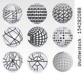 set of vector abstract globe  | Shutterstock .eps vector #154282088