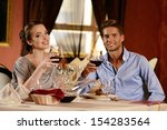 beautiful young couple with... | Shutterstock . vector #154283564