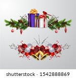 christmas decorations with fir... | Shutterstock .eps vector #1542888869
