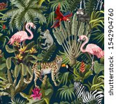 seamless pattern with jungle... | Shutterstock .eps vector #1542904760