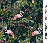 seamless pattern with jungle... | Shutterstock .eps vector #1542904763