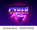cyber monday banner. retro... | Shutterstock .eps vector #1542915026