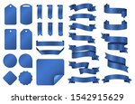 blue ribbons. wrapping silk... | Shutterstock .eps vector #1542915629