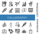 calligraphy icon set.... | Shutterstock .eps vector #1542955046