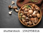 Different fresh wild mushrooms...