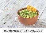 Bowl Of Guacamole With Tortilla ...