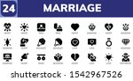 marriage icon set. 24 filled... | Shutterstock .eps vector #1542967526