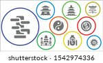 buddhism icon set. 9 filled... | Shutterstock .eps vector #1542974336